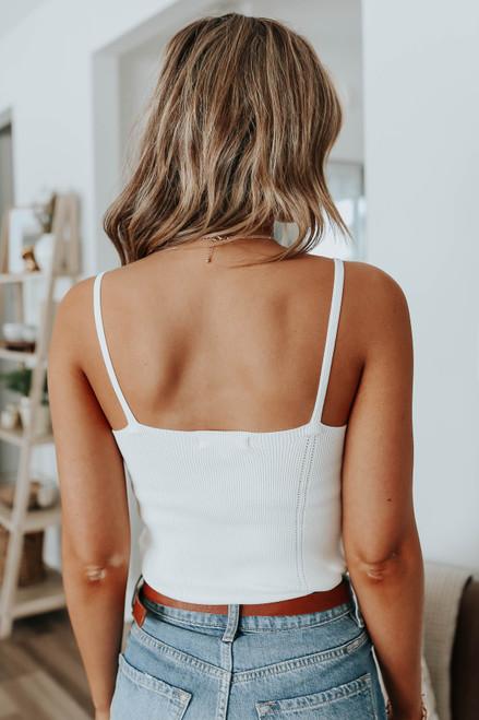 V-Neck Ivory Ribbed Bodysuit