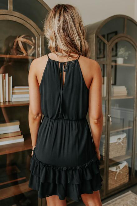 Joelle Drawstring Halter Ruffle Hem Dress