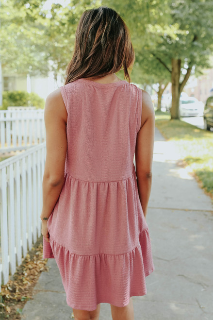 New Wave Textured Mauve Ruffle Hem Dress