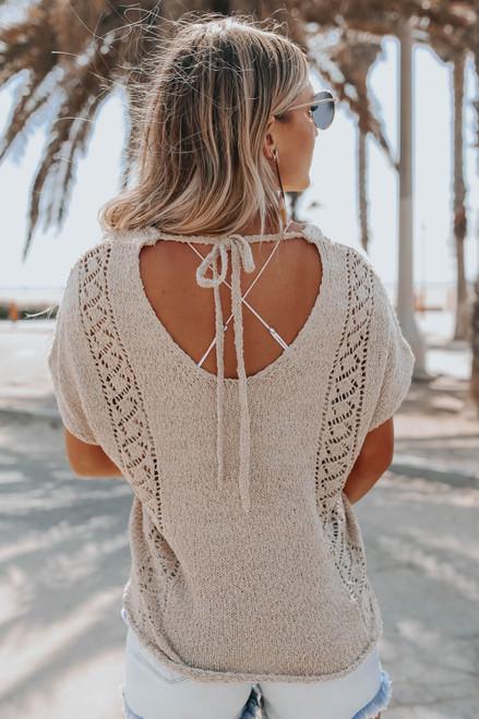 Short Sleeve Open Back Oatmeal Beach Top