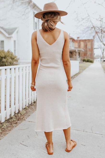Meadowlark V-Neck Ribbed Midi Dress