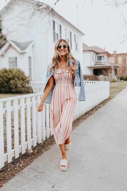 Boardwalk Smocked Striped Jumpsuit