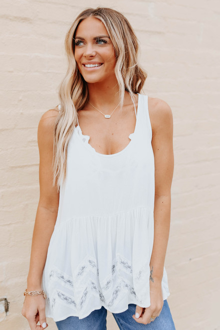 Scoop Neck Lace Detail Babydoll Top