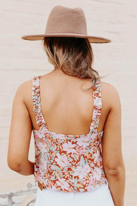 Ruffle Strap Sweetheart Floral Bodysuit