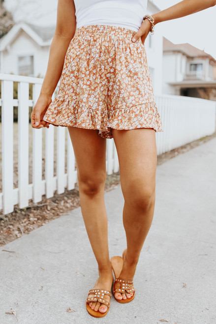 Dreamy Afternoon Ruffle Floral Shorts