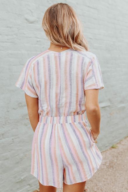 Button Down Striped Linen Romper