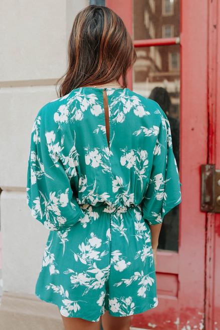 Kimono Surplice Drawstring Floral Romper