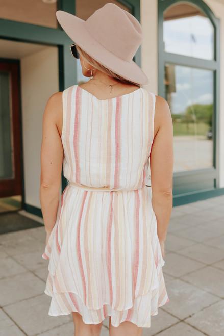 Surplice Tie Waist Striped Linen Dress