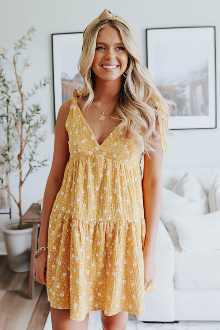Tie Strap Yellow Floral Crinkle Dress