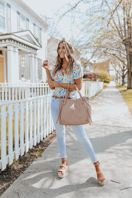V-Neck Button Down Watercolor Floral Top