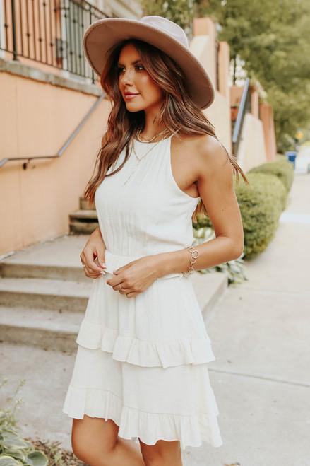 Halter Ruffle Tiered Beige Crinkle Dress