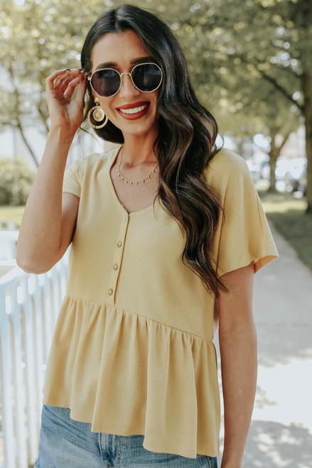 Short Sleeve Yellow Thermal Babydoll Top