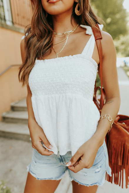 Tie Strap Smocked White Embroidered Top
