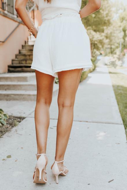 Resort Ready Paperbag Ivory Crinkle Shorts