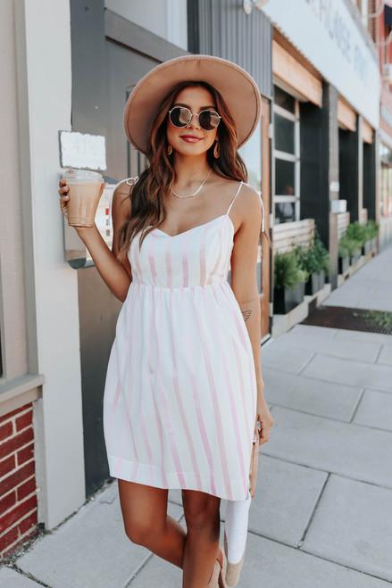 V-Neck Tie Strap Pink Striped Dress