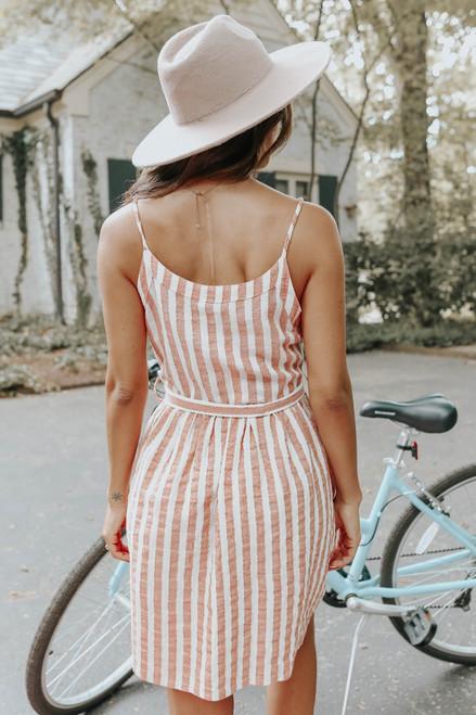 Button Down Tie Waist Red Striped Dress