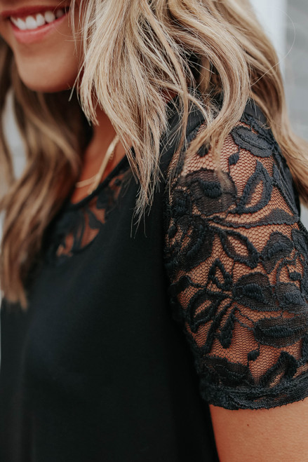 Short Sleeve Lace Detail Black Tee