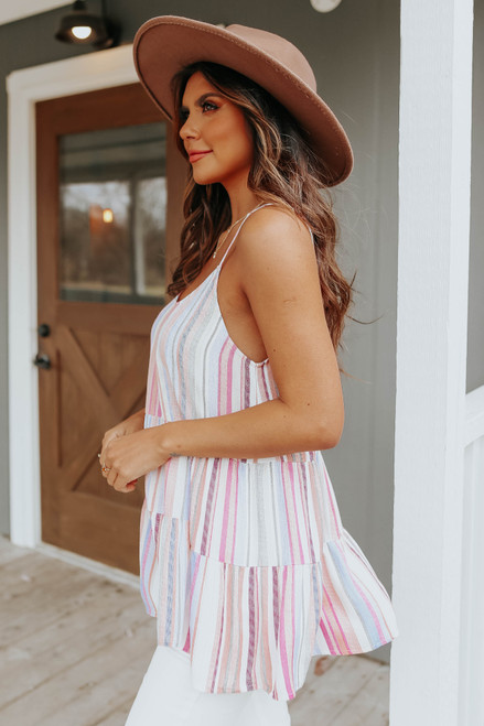 Scoop Neck Multi Stripe Tiered Tank