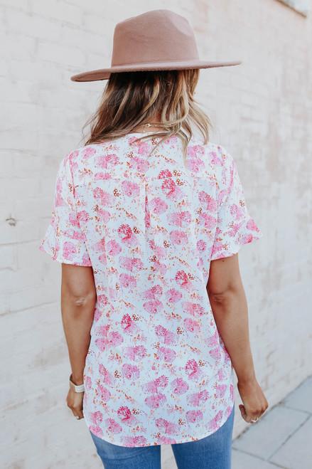Short Sleeve Surplice Watercolor Floral Blouse