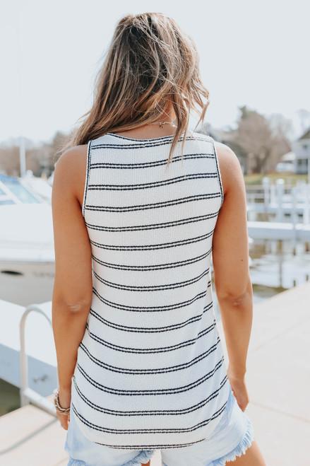Scoop Neck Sleeveless Striped Sweater Top