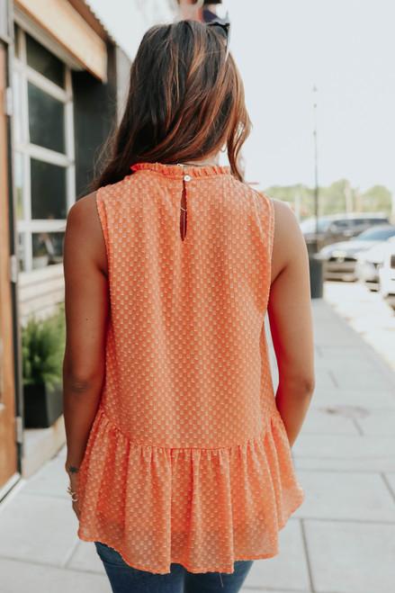 High Neck Sleeveless Orange Peplum Top
