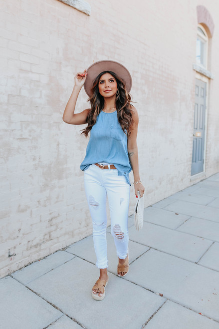 Sleeveless Side Button Chambray Top