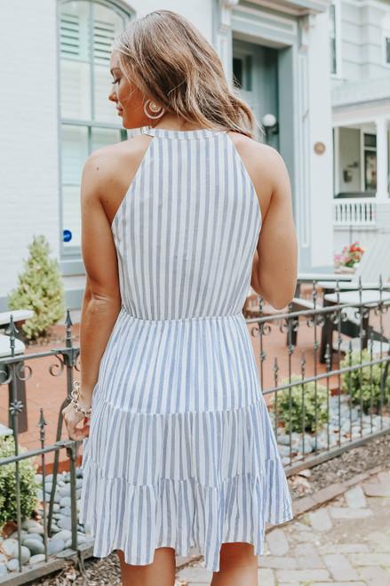 Button Down Navy Striped Halter Dress