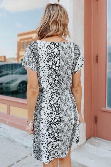 V-Neck Drawstring Mixed Colorblock Dress