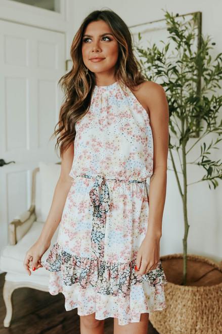 Tie Waist Colorblock Floral Halter Dress