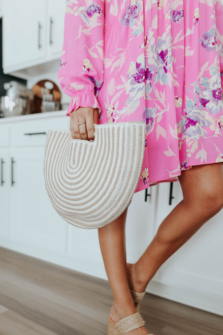 Newport Striped Semi Circle Handbag