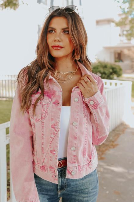 Free People Rumors Pink Denim Jacket