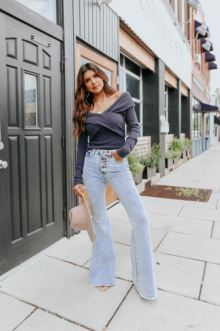Free People Marley Charcoal Top