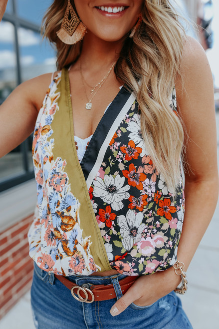 Free People Tied To You Floral Satin Tank