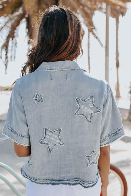 Vintage Havana Short Sleeve Star Denim Shirt
