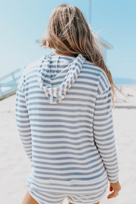Ocean Drive Blue Striped Brushed Hoodie