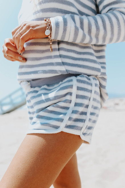 Ocean Drive Blue Striped Brushed Shorts