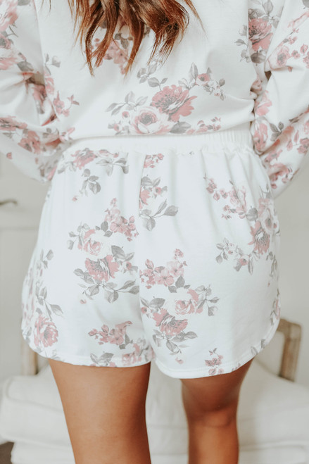 Contrast Ribbed Floral Terry Shorts