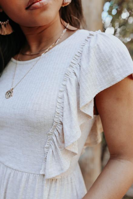 Open Back Ruffle Ribbed Dress