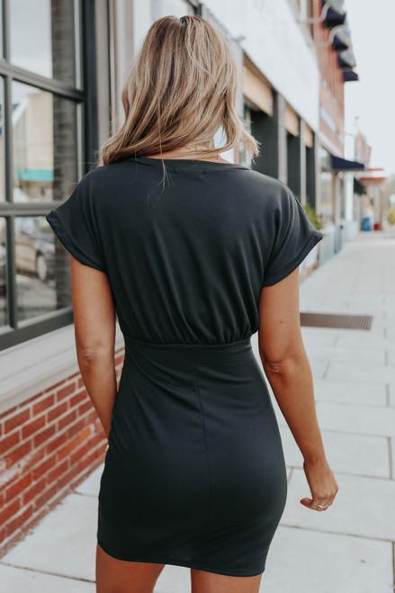 Dolman Sleeve Blouson Black Bodycon Dress