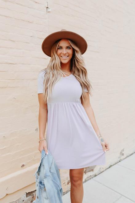 Short Sleeve Open Back Lavender Ribbed Dress
