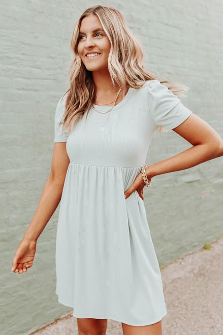 Short Sleeve Open Back Mint Ribbed Dress