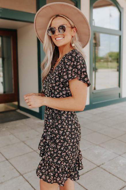 Short Sleeve Black Floral Wrap Dress