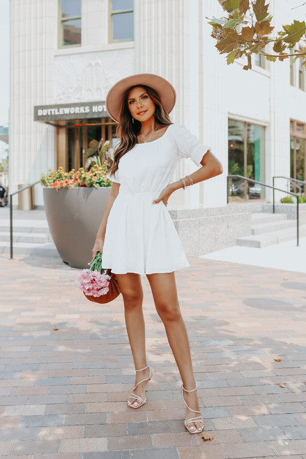 Puff Sleeve Square Neck White Textured Dress
