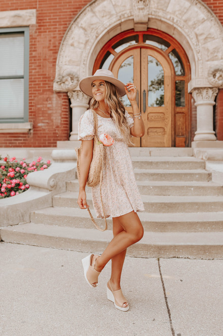 Square Neck Peach Blush Floral Dress