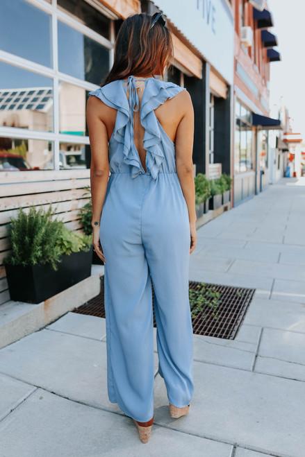 V-Neck Ruffle Dusty Blue Crinkle Jumpsuit