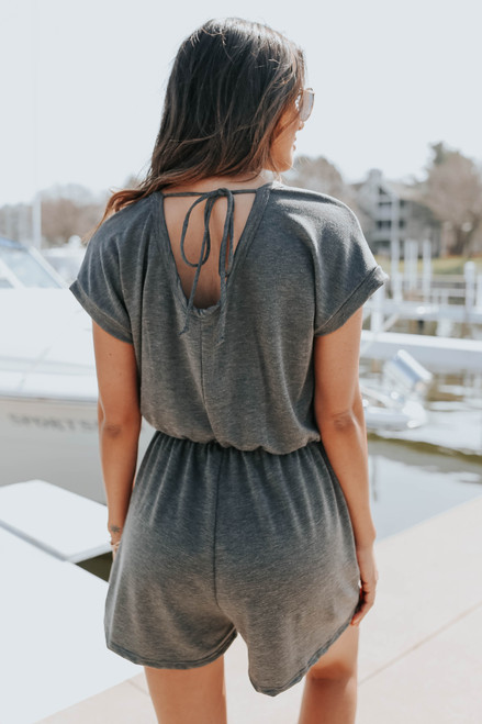 Short Sleeve Open Back Charcoal Terry Romper
