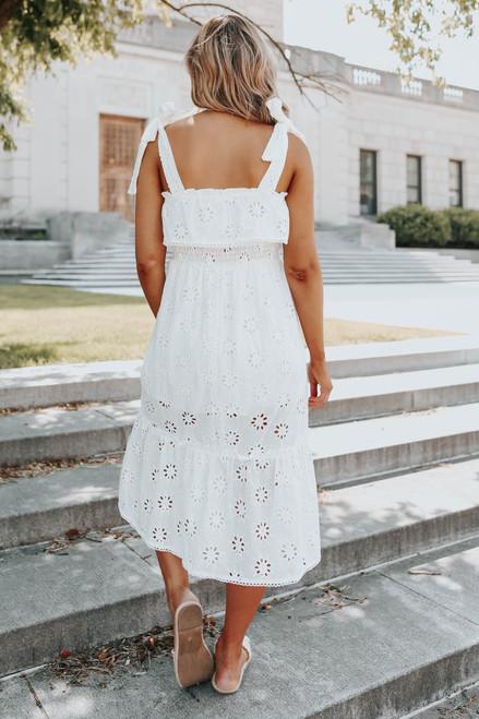 Tie Strap White Eyelet Midi Dress