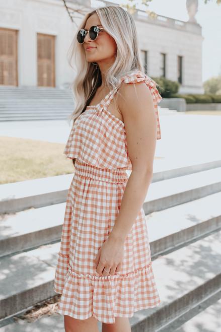 Tie Strap Orange Gingham Ruffle Hem Dress