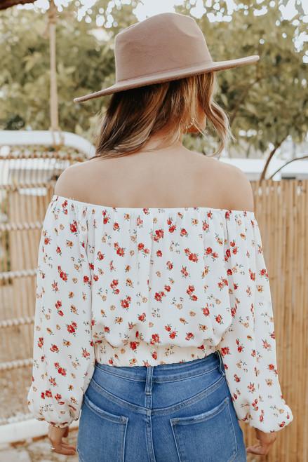 Off the Shoulder Side Tie Floral Top