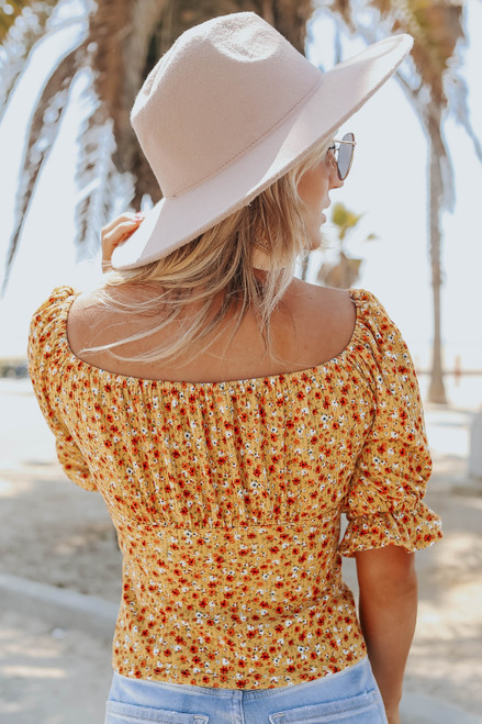 Puff Sleeve Square Neck Mustard Floral Top